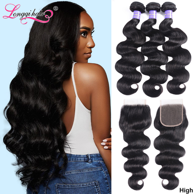 Long Lasting Body Wave Bundles With Closure Brazilian Hair Weave Bundles With Closure Remy Hair Closure with Bundles Longqi Hair