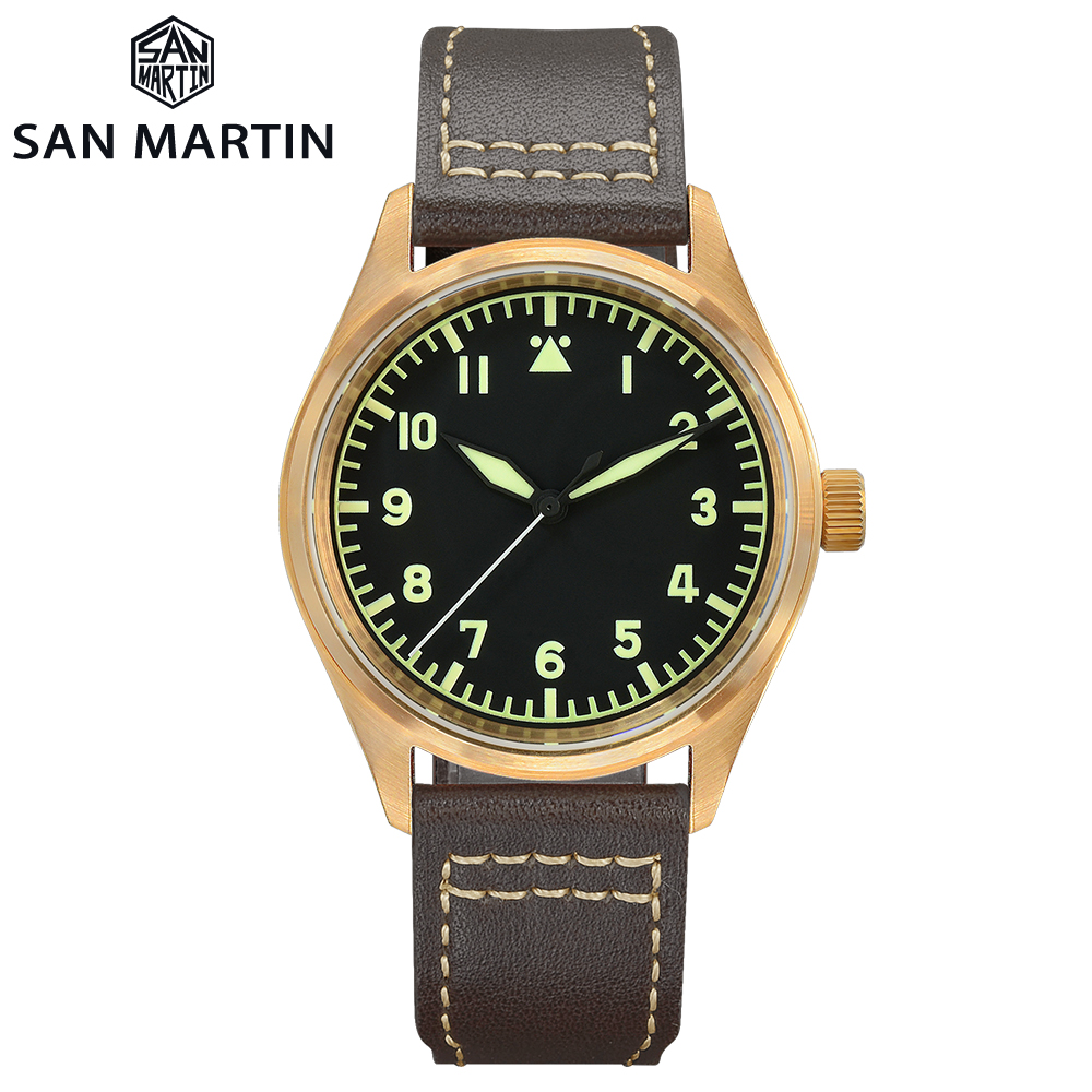 San Martin Watch Bronze Mechanical Pilot Men's Watch Luminous Waterproof Leather Strap