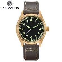 San Martin montre Bronze mécanique pilote montre pour hommes lumineux étanche bracelet en cuir