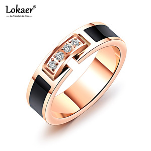 Lokaer Trendy Stainless Steel Wedding Ring Rose Gold Color Ring For Women AAA+ Cubic Zirconia Female Engagement Jewelry R19103