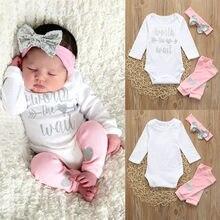 Outono inverno conjunto de roupas bebê recém-nascido infantil meninas carta macacão de algodão leggings 3 pçs conjunto de roupas do bebê menino