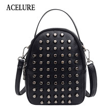 Small Clear Brand Designer Woman New Fashion Messenger Bag Chains Shoulder Bag Female Rivets High Quality PU Handbag ACELURE(China)