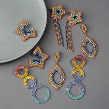 цена на Boho Rainbow Crystal Tassel Earrings for Women Star Round Heart Dangle Long Water Drop Earrings Bridal Statement Jewelry 2020