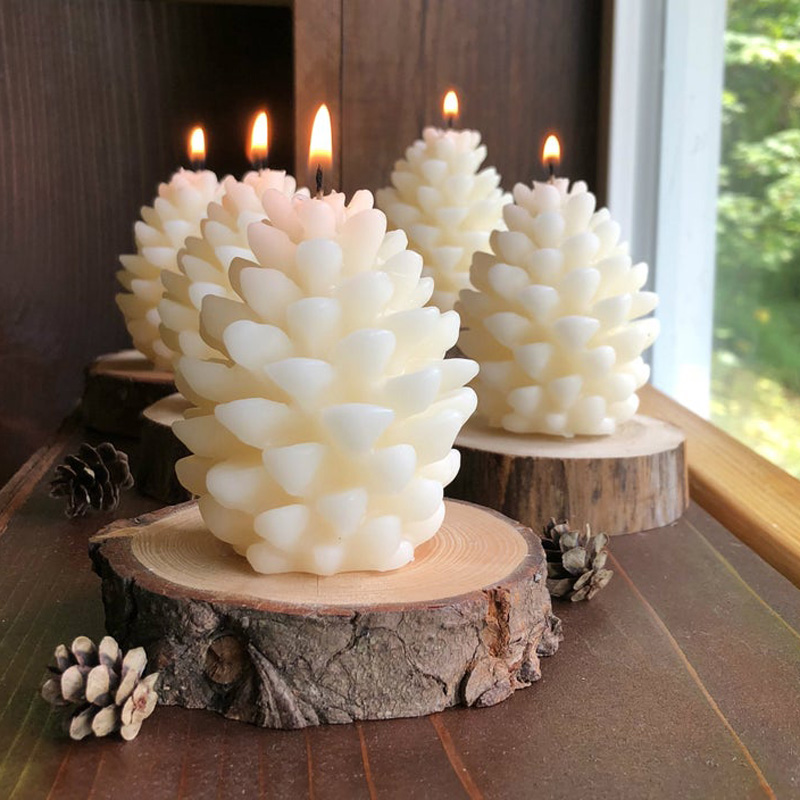 FUNBAKY 3D Christmas Pine Cone Silicone Candle Mold DIY Handmade Aromatherapy Candles Beeswax Pinecone Candle Making Mould