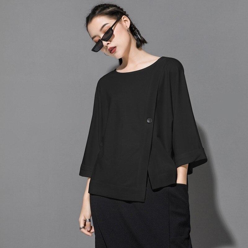 [EAM] 2020 New Spring Summer Round Neck Three Quarter Sleeve Hem Irregular Button Big Size T-shirt Women Fashion Tide JT233 6