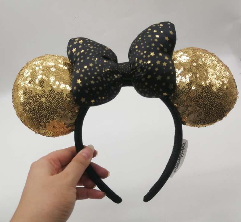 HONG KONG Minnie Mouse Sequin Ears Black & Gold Bow Polka Dot Headband Ears