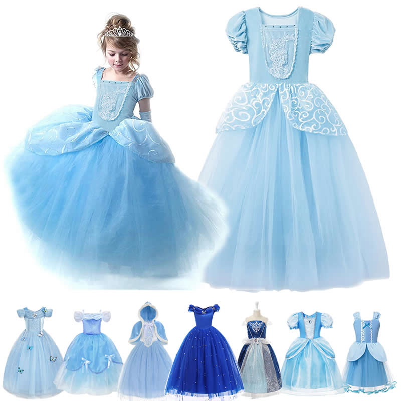 Girl Fluffy Princess Ball Gown Kids Tulle Lace Shoudlerless Performance Dress Cinderella Gorgeous Blue Costumes Halloween Party
