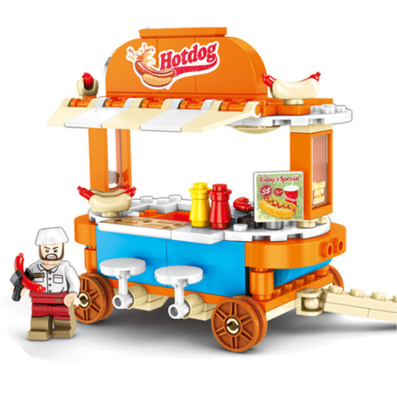 Blocks street vehicle Assemble vegetable Car Building Toy Drink Shop Xmas Gifts Girls brinquedos for Children toys 601113 in Blocks from Toys Hobbies