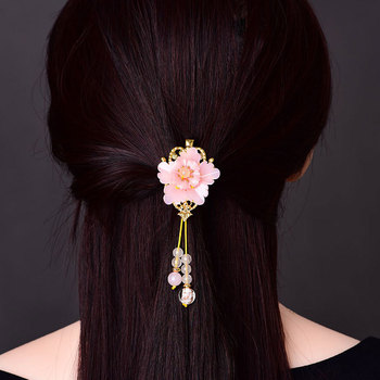 Jade Stone Barrettes Flowers Hairpin Charm Jadeite Jewelry Amulet Fashion Accessories Natural Chinese Gifts for Wome