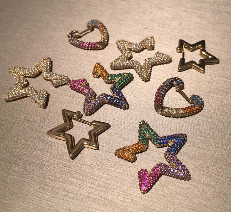 Heart-shaped Star Women Geometric Color Rhinestone Love Holiday Gift Love Small Earrings