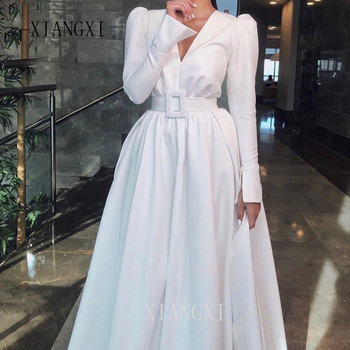 Nouveauté col en V à manches longues robes de soirée Satin blanc Simple robes de soirée a-ligne longue robe 2020 robe de soirée недорого