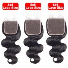 4x4 5x5 6x6 fechamento do laço livre/meio/três parte laço suíço peruano onda corpo remy cabelo pré arrancado fechamentos