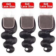 4x4 5x5 6x6 fechamento do laço livre/meio/três parte laço suíço laço transparente onda corpo remy cabelo brasileiro pré arrancado fechamentos