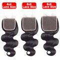 4x4 5x5 6x6 кружевная застежка бесплатно/Средняя/Тройная швейцарская кружевная Прозрачная Кружевная Бразильская волна Remy волосы предварительн...
