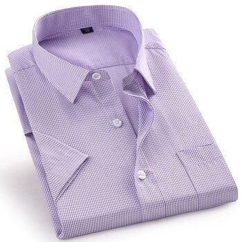 High Quality Short Sleeve Men's Dress Casual Plaid Shirt Male Regular Fit Blue Purple 4XL 5XL 6XL 7XL 8XL Plus Size Shirts 1