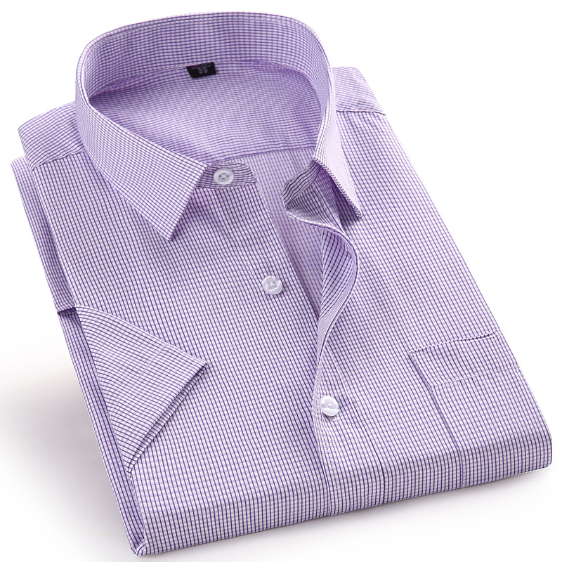 High Quality Short Sleeve Men's Dress Casual Plaid Shirt Male Regular Fit Blue Purple 4XL 5XL 6XL 7XL 8XL Plus Size Shirts