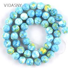Natural Blue Green Rain Flower Stone Beads For Jewelry Making 4 6 8 10 12mm Round Spacer DIY Necklace Bracelet 15
