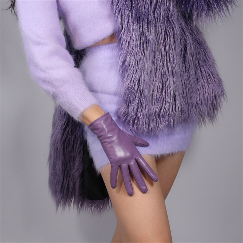 Touchscreen Genuine Leather Gloves 25cm Short Style Pure Imported Goatskin Black Female Plush Lining Lavender Light Purple WZP13