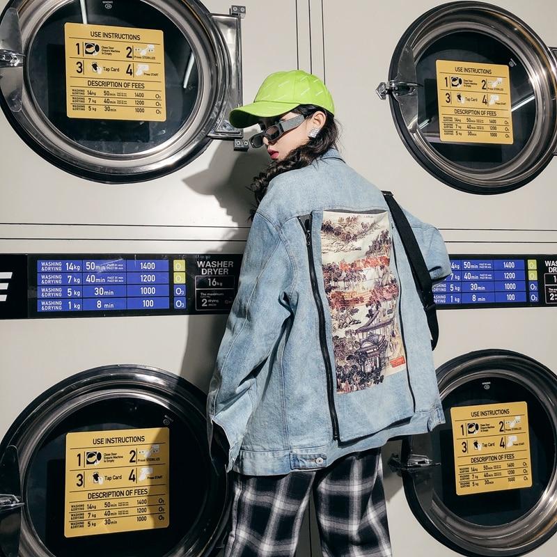 2019 couleur unie peinture à l'encre ancienne fermeture à glissière détachable couture deerskin veste en denim ample