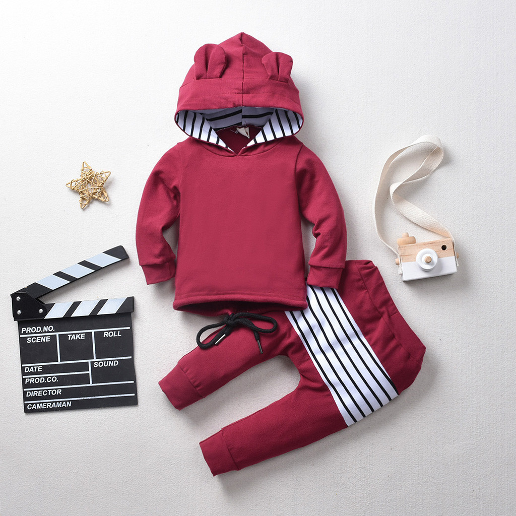 (6M-4Y) Children girls boys hooded long-sleeved striped cat ears hooded sweater + pants two-piece suit hooded ear pullover  F4*