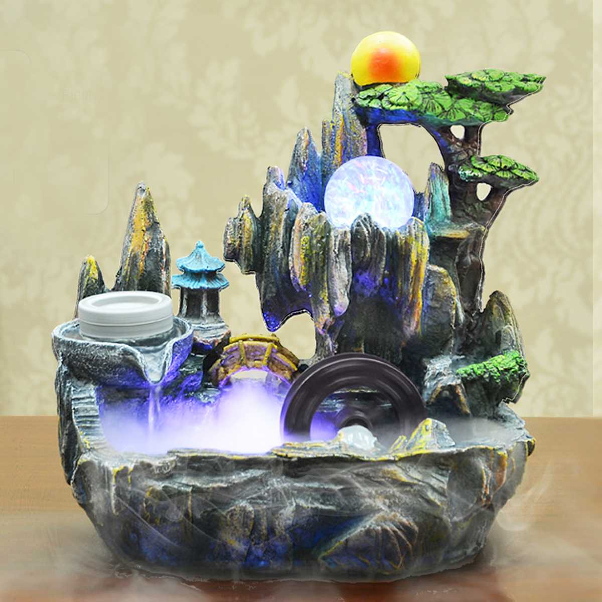 220V Home Ornament table Water Fountain Feng Shui Decoration Ornament Artificial Aromatherapy Indoor Air Humidifier Home Decor