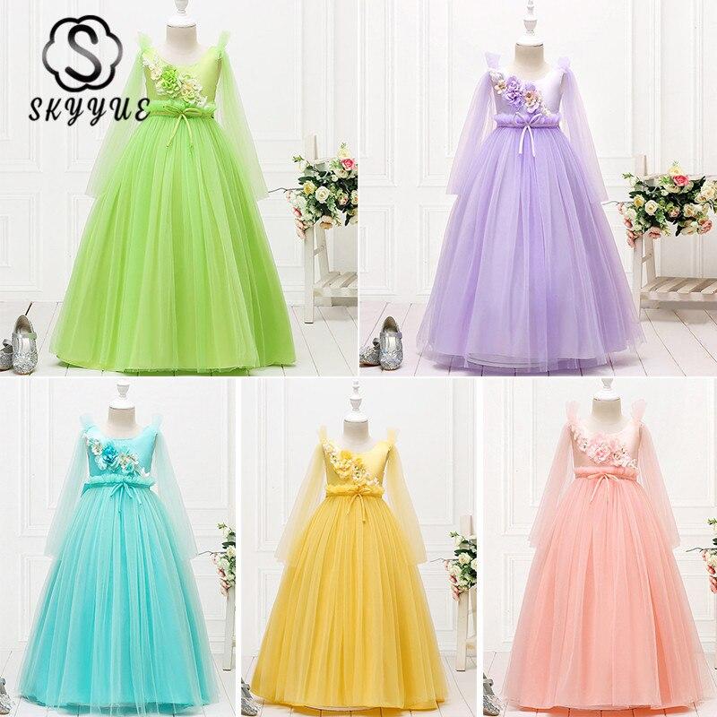 Skyyue Wedding Dresses For Girl O-neck Sleeveless Kid Party Dress Flower Printing Floor-Length Zipper Communion Dress 2019 152