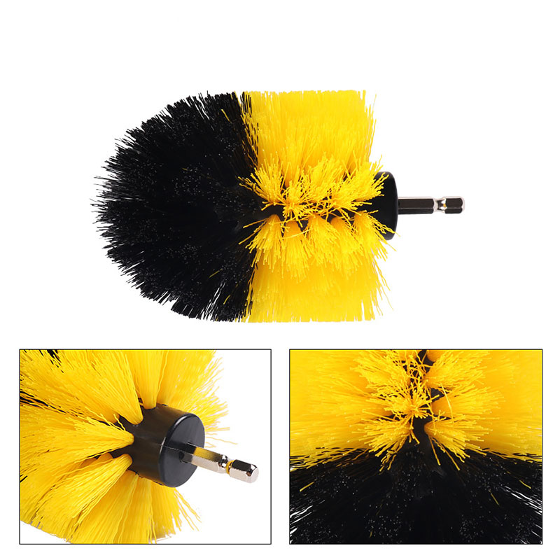 Drill Brush Kit Nylon Power Scrubber Useful Cleaning Brushes Set Electric Drill Brush Yellow Obstinate Stain Churn Drilling
