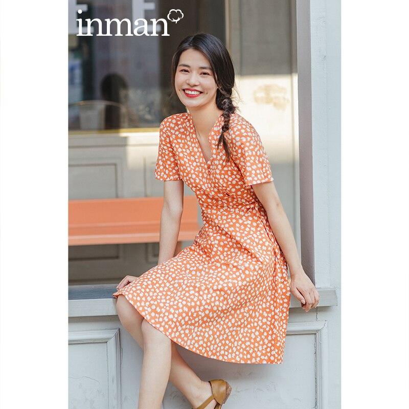 INMAN 2020 Summer New Arrival V-neck Print Bowknot Short SLeeve A-line Sweet Cool Dress