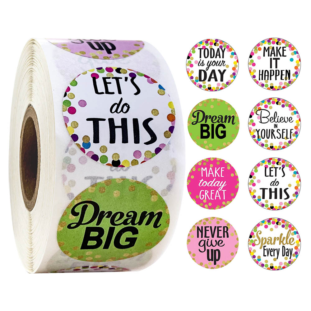 500Pcs/roll Confetti Positive Sayings Accents Stickers For Students Teachers Classroom Use Stickers Scrapbooking Reward Stickers
