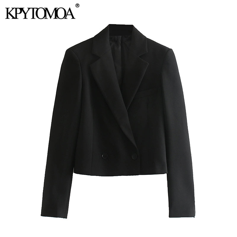 Vintage Stylish Short Style Double Breasted Blazer Coat Women 2020 Fashion Notched Collar Long Sleeve Female Outerwear Chic Tops