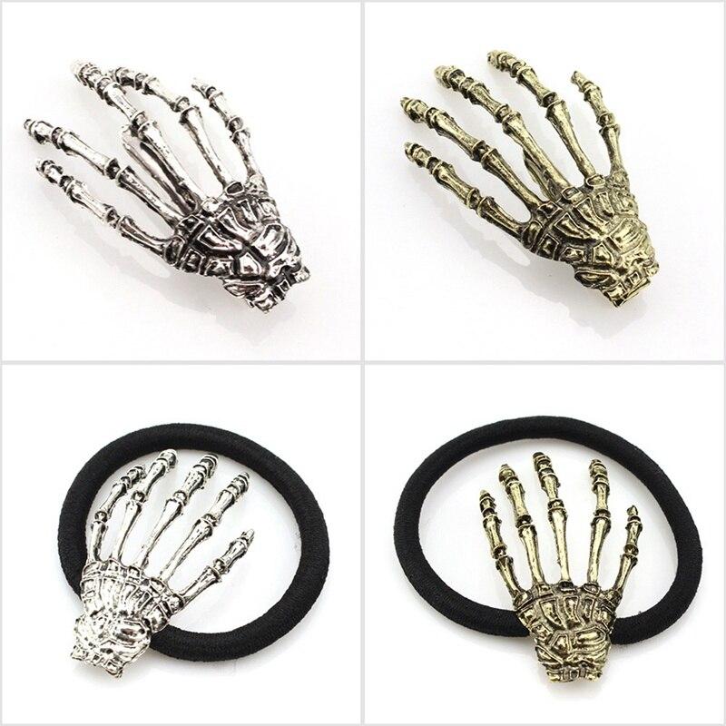 Nova Mão Do Crânio Osso Corda Cabelo Hairpin Garra Fantasma Esqueleto Garra Osso Acessórios Para o Cabelo Hairclips Para Meninas Presente do Dia Das Bruxas