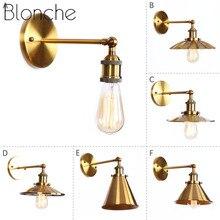 Blonche antiguo bronce pequeña lámpara de pared Luz Retro Industrial oro iluminación para Bar Café decoración E27 Vintage accesorio