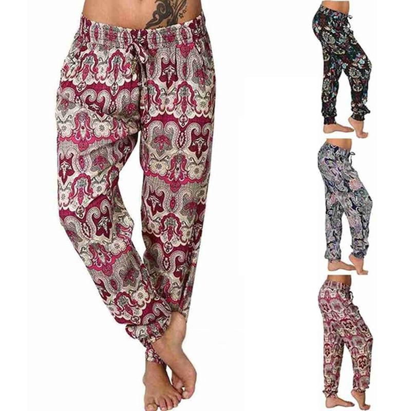Casual Plus Size Print Pants Woman Vintage Elastic Waist Summer Pants Female Streetwear Bohemian Trousers Sexy Beach Capris Lady