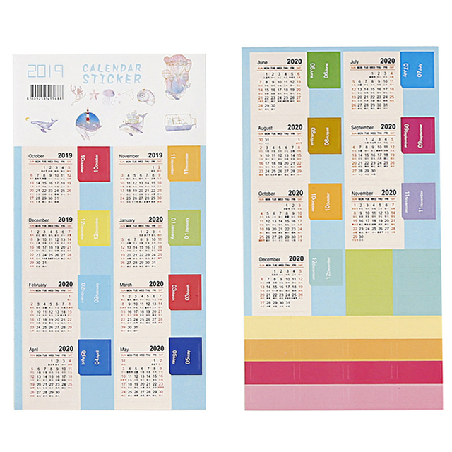 New 2020 Calendar Stickers Notebook Planner Decorative Sticker Mini Calendar Label Index Bookmark Kawaii Stationery 2 Pcs/pack 2