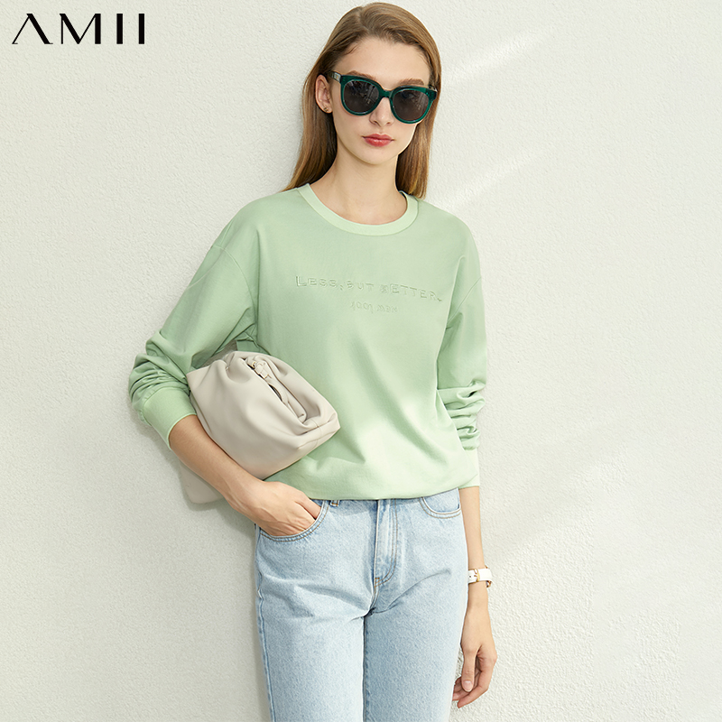 Amii Minimalist Spring Cotton Letter Print Sweatshirt Women Casual Round Neck Solid Loose Female Pullover Tops 12020067