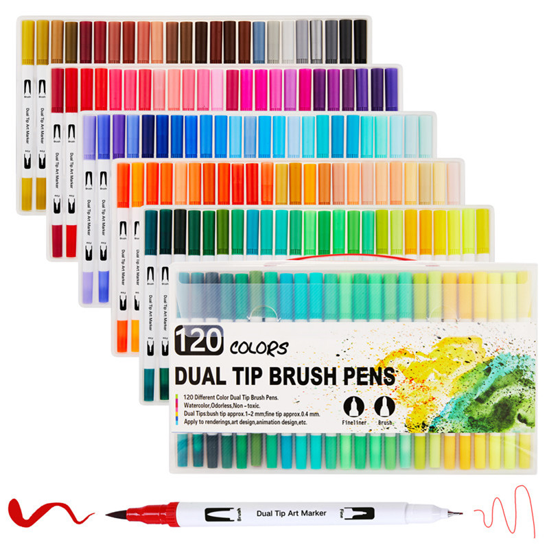12/24/36/48/72/100/120 Colors Dual Tip Fine Liner Art Marker Pens Watercolor Drawing Painting Markers Pen Brush School Supplies