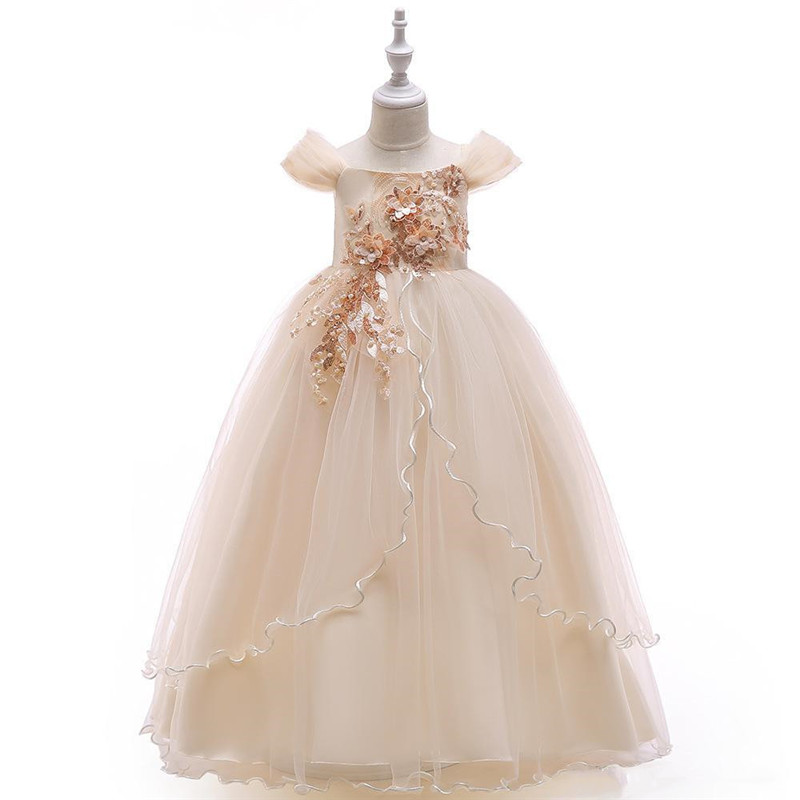 Champagne Long Flower Girl Dress for Wedding 3D Applique Lace Short Sleeve Ball Gown Girls Pageant Dress Birthday Dress