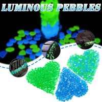 300Pcs Luminous Stone Pebble Glow in the Dark Garden Glowing Stones Rocks for Walkways Path Patio Lawn Decor Aquarium fish tank