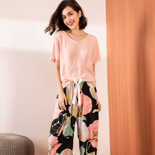 Summer Pajamas Set Women Sleepwear Female Casual Floral Printed Contrasting Color Pyjamas Tops with Long Trousers Home Clothing 5