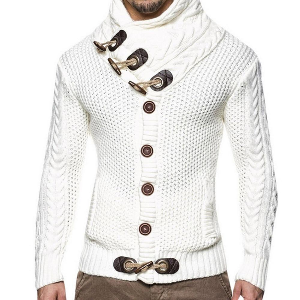 Модный свитер в винтажном стиле, кардиган для мужчин, зимний теплый свитер с высоким воротом, трикотажная пряжа, джемпер с пряжкой, Толстая Повседневная Верхняя одежда