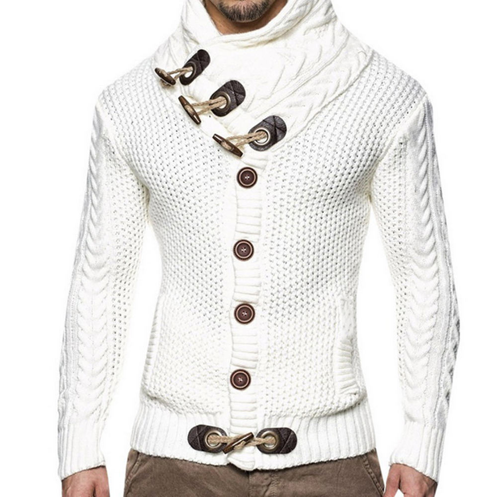 Outwear Sweater Horns-Buckle Tricot-Jumper Turtleneck Cardigan Men Knitting Fashion Winter title=