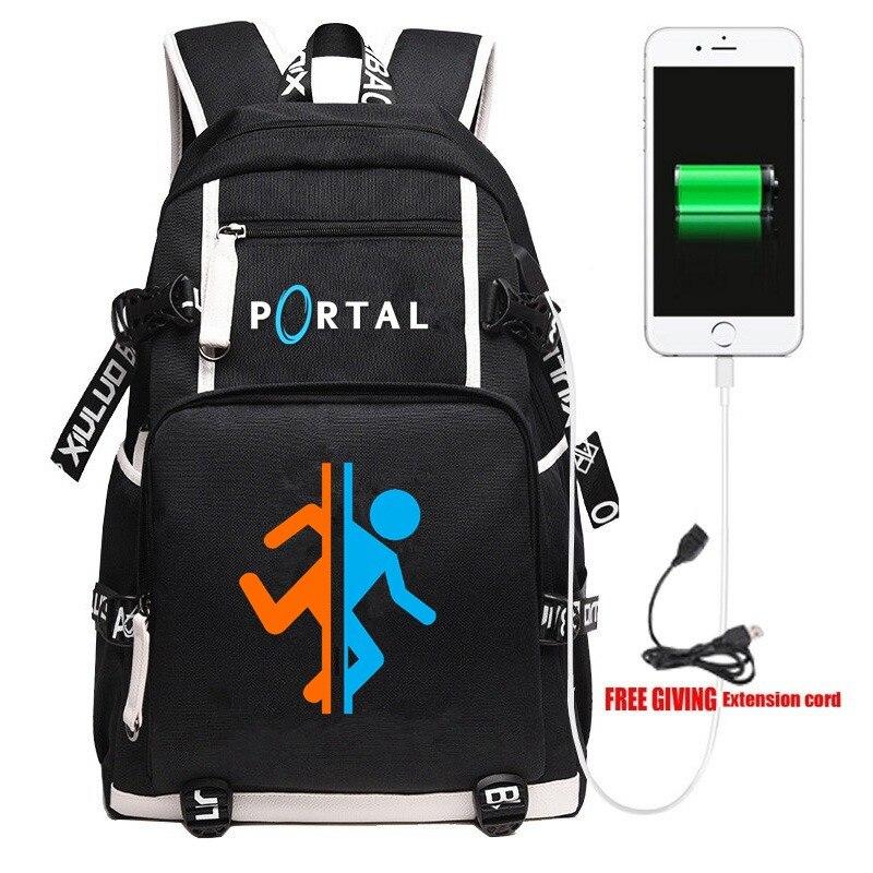 New Game PORTAL 2 School Backpack Men Women Laptop Travel Shoulder Bag Cosplay Cartoon Gamer Fans Work Casual Bags Gift