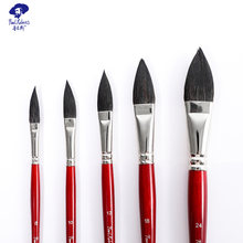 Ручка для кистей pual rubens винно красного цвета с отделкой