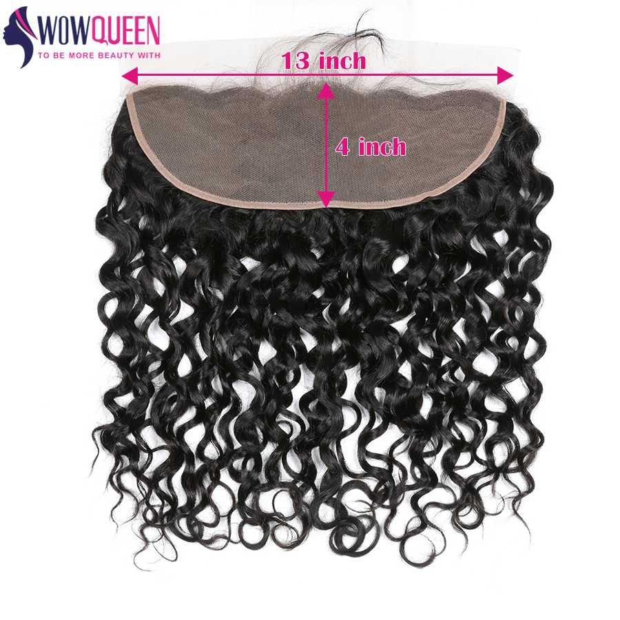WOWQUEEN Hair 13x6 Water Wave Frontal Swiss Lace 22inch Frontal Natural Color Remy Hair Extensions Brazilian Human Hair Closure