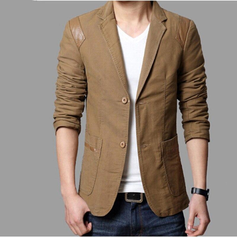 Men Blazer Jacket Slim-Fit Male Casual Fashion Spring Business-Work Brown Autumn Black