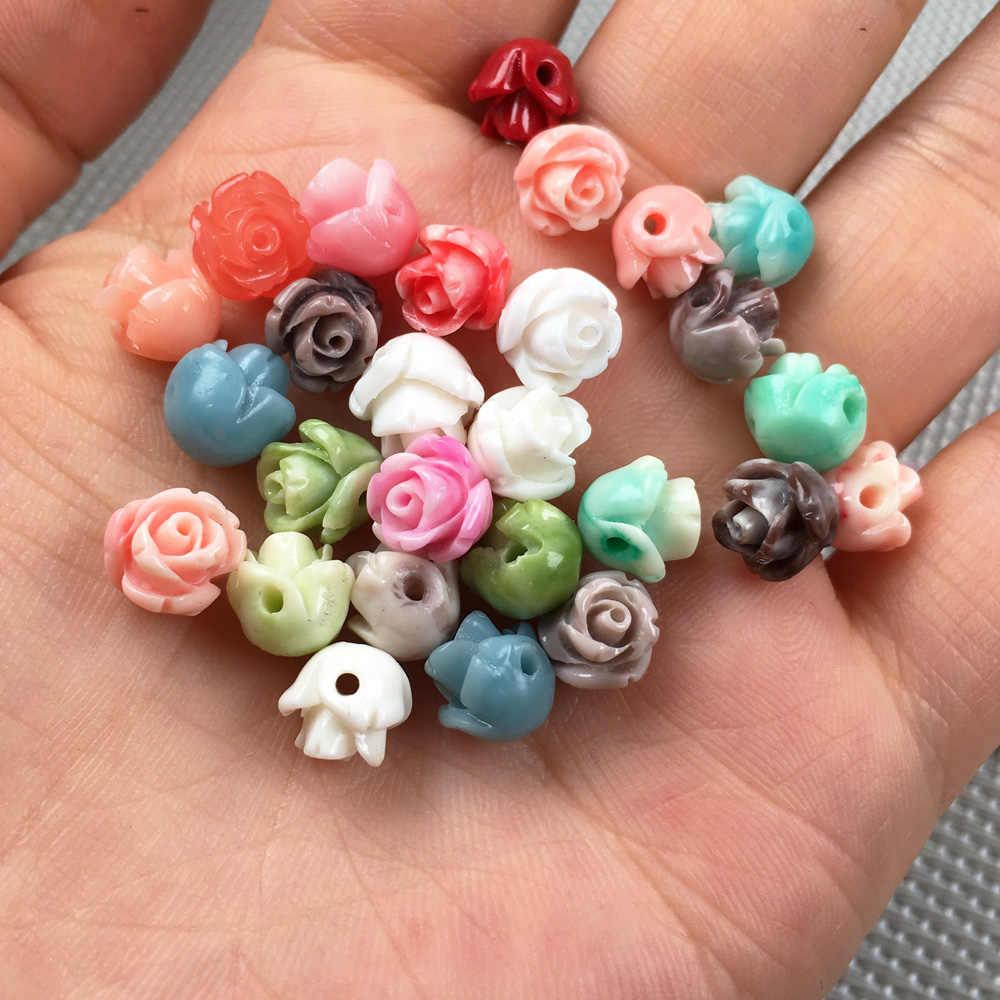 סינטטי אלמוגים כפול בצבע פרח צורת אגרוף loose חרוזים בידוד חרוז עבור תכשיטי ביצוע DIY שרשרת צמיד accessorie