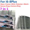 5 Pcs Voor Iphone 6 6S 7 7G 8 Plus 7P Hoge Kwaliteit 7in1 Glazen Lens Met midden Frame Bezel Frame Oca Oor Mesh Camera Senor Ring