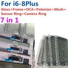 5 stücke Für iPhone 6 6S 7 7G 8 plus 7P hohe qualität 7in1 Glas objektiv mit mittleren Rahmen Lünette Rahmen OCA Ohr Mesh Kamera Senor Ring