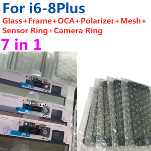 Image 1 - 5pcs For iPhone 6 6S 7 7G 8 plus 7P high quality 7in1 Glass lens with Middle Frame Bezel Frame OCA Ear Mesh Camera Senor Ring