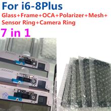 5pcs Per il iPhone 6 6S 7 7G 8 più di 7P di alta qualità 7in1 lente In Vetro con medio Cornice Bezel Telaio OCA Orecchio Maglia Macchina Fotografica Senor Anello